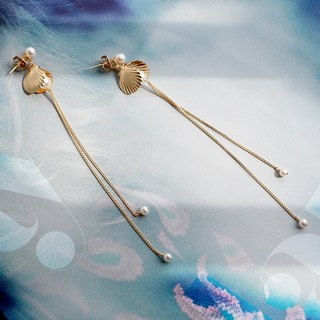 MissQueeny Ocean Legend Golden Shell Goddess Natural Pearl Stud Earrings / Long Earrings Two Wear