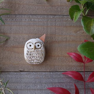 white owl going to the party broach  05/ animal pottery broach