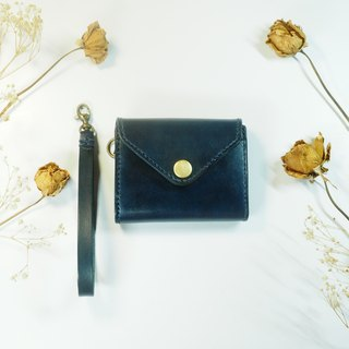 Chubby handmade leather wallet envelopes envelope with a rope dark blue