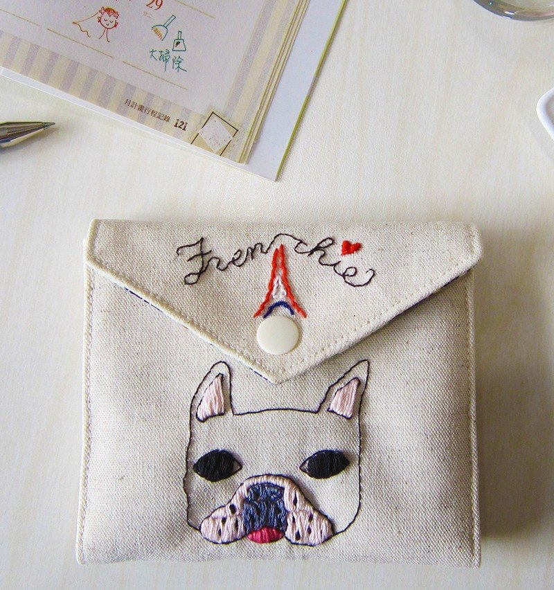 Fadou Love Paris-Embroidery personal belongings & facial paper carry case tissue/wiper/maxi purse