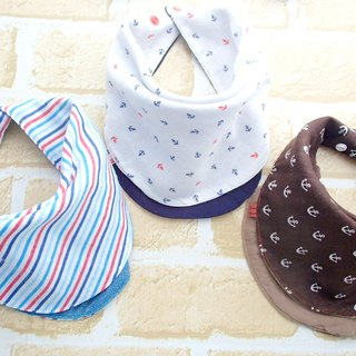 Baby Bib,Set of 3,Baby Bandana Bib,Reversible Bib,Nautical Anchor, Stripes