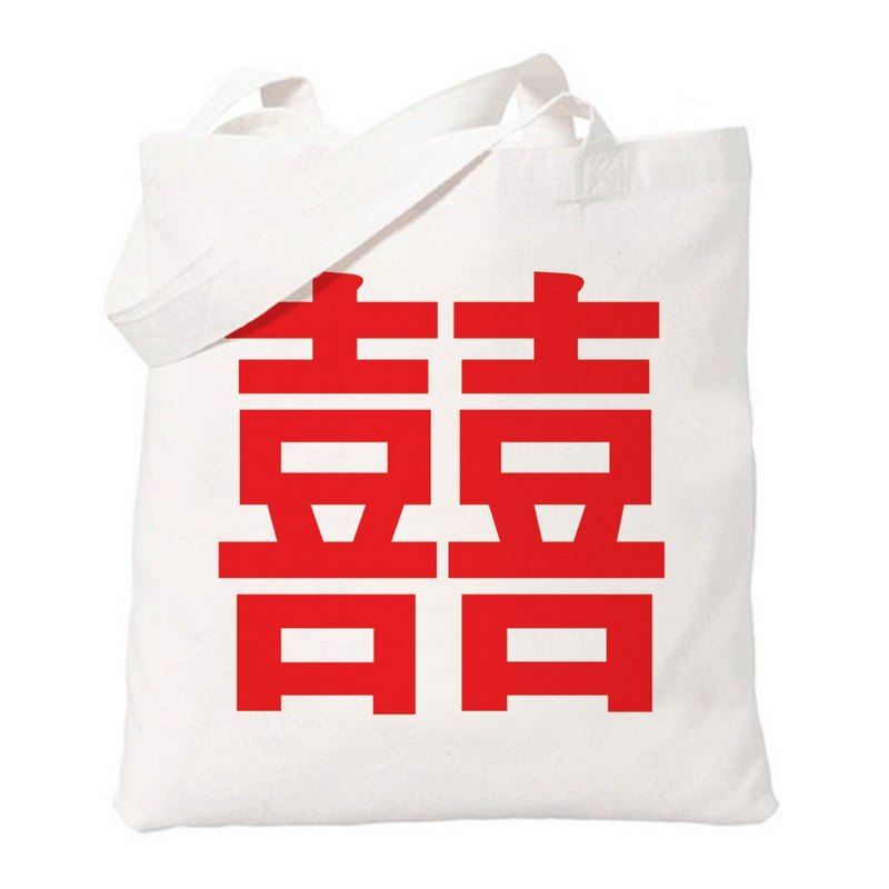Chinese-Joy # 2-red-wedding double happiness Chinese wedding gift wedding Wen Qing simple fresh green canvas shoulder bag shopping bags literary Tote- beige