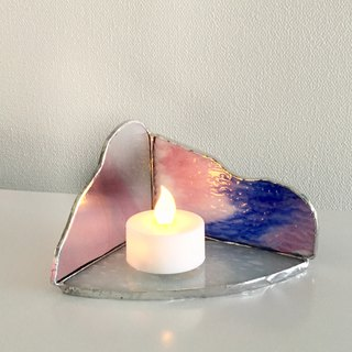 LED Light Holder Candle Night Pink Blue Glass Bay View