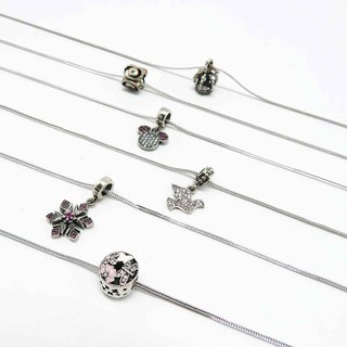 925 Silver Necklace Dragonfly Flower Snowflake Pigeon Cartoon Ingot Crown