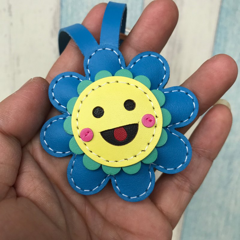 Small Size - Leatherprince sunflower leather charm - Blue