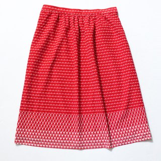 [RE1005SK166] autumn red retro geometric print vintage dress vintage skirt