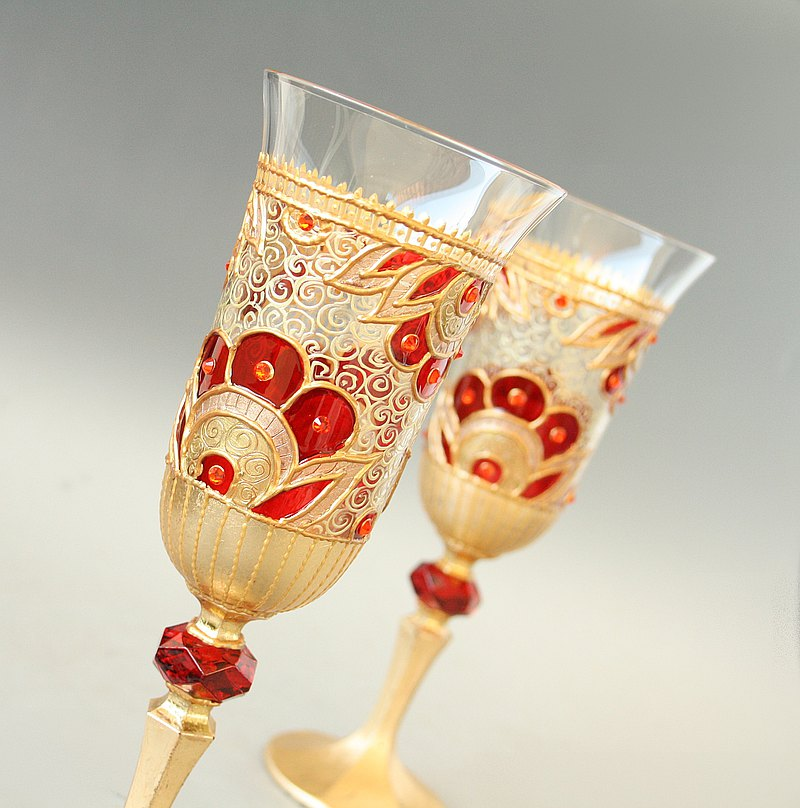 Royal Red Gold Wedding Crystal Glasses Wine Champagne, Hand Painted set of 2