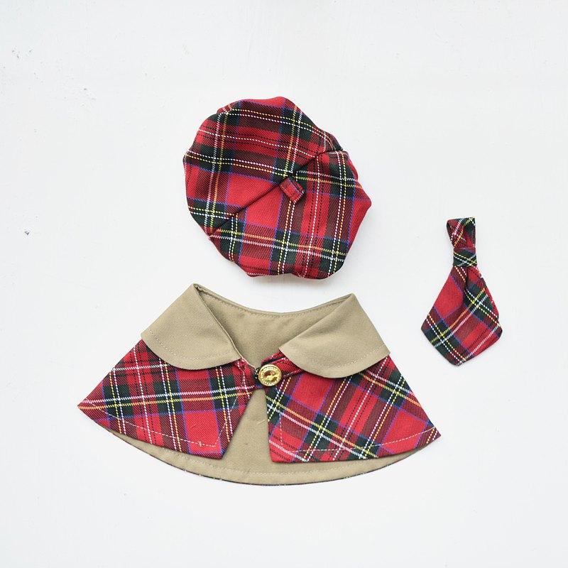 寵物優惠1+2套組-斗篷+貝雷帽+領帶-狗/貓皆宜【ZAZAZOO】
