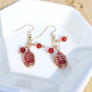 The melody of Autumn Red Maple romantic handmade gemstone drop earrings