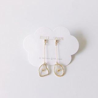 Golden Picture Frame Series - Dry June Snow Dangle Handmade Earrings Ear/Aurture
