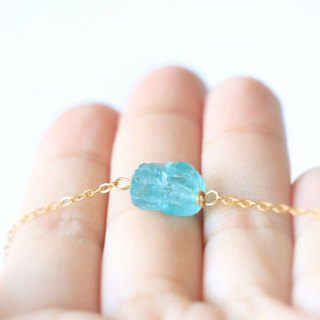 Blue apatite necklace - natural crystal necklace 18k gold plated crystal choker