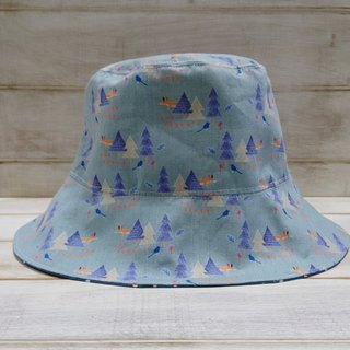 Forest fox bird blue little bit sided fisherman hat sun hat