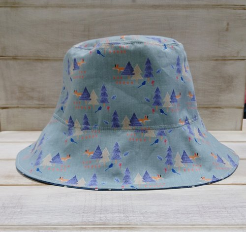 Forest fox bird & blue little double fisherman hat hat