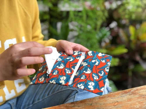 Weimom s MinBus cloth - brilliant orange flower - toilet paper sanitary napkins bags, pencil cases, chopsticks sets, green tableware bags, cloth rolls, Christmas gifts Made in Taiwan - hand made good