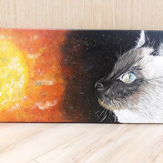 Cosmic cat star sun original painting