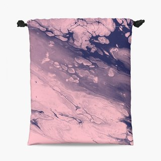 Drawstring Pouch - 束口袋 - Marble blue & pink