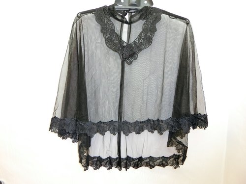 European and American minimalist style handmade long shawl collar fantasy (black A) -Lisa-Snail Design short in front