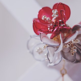 Hanakin flower gold Flamenco red gray hand made jewelry earrings without hanging custom kris store