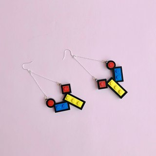 Mondrian matching LEGO Geometric earrings