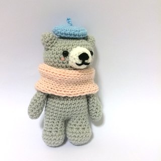 Aprilnana_ Baby Bear three brothers (gray), wool dolls, cute strap, woven Bear