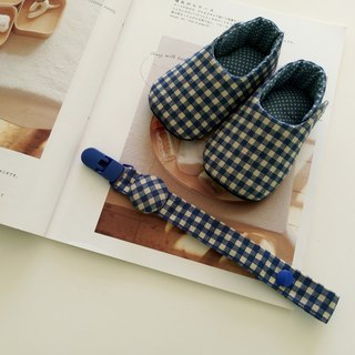 Blue Lattice Moon Gift Baby Shoes + Pacifier Clip