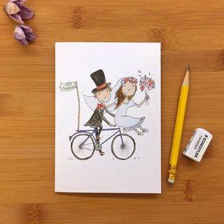 JUST MARRIED BIKE bicycle wedding card universal card hand-painted illustration green paper imported from the United Kingdom 014