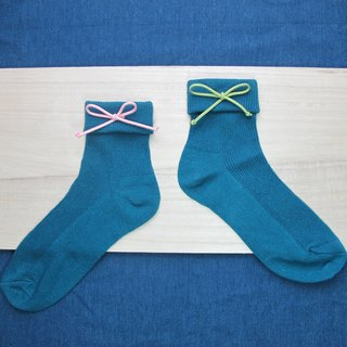 Folding Socks / Wenqing section tie in the stockings / peacock blue / order orders