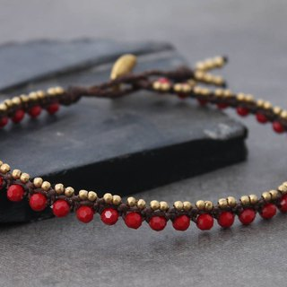 Beaded Anklets Red Crystal Woven Macrame Brass Lace Beadwork Ankle Jewelry