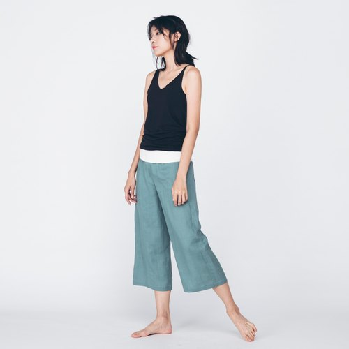 Linen Cropped Pants - Pink Green