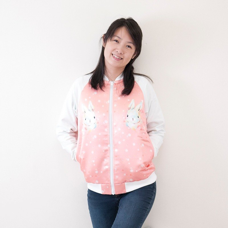 Snowflake rabbit double-sided cotton baseball jacket_Macarron pink _ adult models