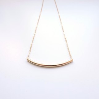 ::Daily Jewels:: Smile Curved Tube 14K GF Layering Long Necklace