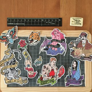Retro Tattoo Style Sticker Set (壹)
