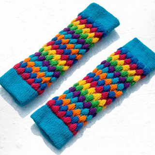 Hand-knitted pure wool knit socks/woven wool socks/inner brushed socks/warm socks-rainbow stripes