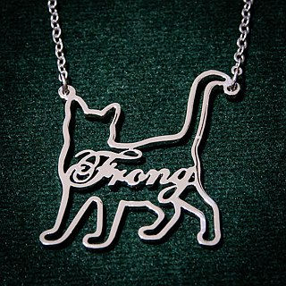 Custom name necklace in cat shape pendant