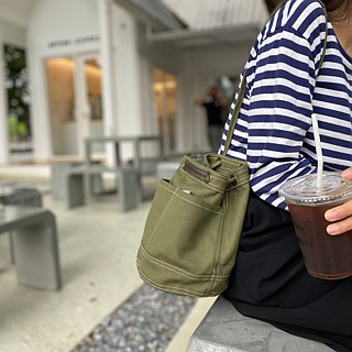 Mini Green camo Canvas Bucket Bag with strap /Leather Handles /Daily use
