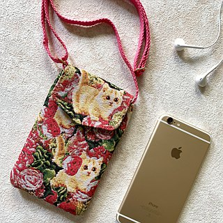Peekaboo texture painting pink jacquard cell phone pocket -REORE