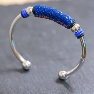Leather 4mm Stainless Steel Bangle