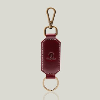 Champagne Champagne - leather key ring - dark red ‧ wax leather
