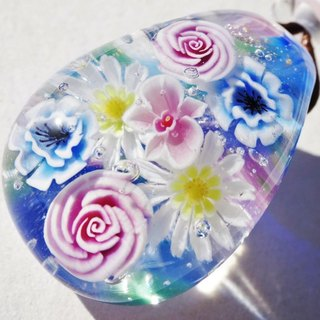 Flower bouquet glass Tongo ball Jade pendant Flower spring