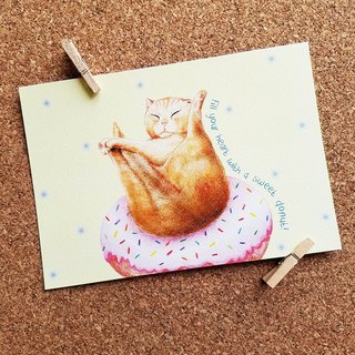 Postcards - cats who love donuts