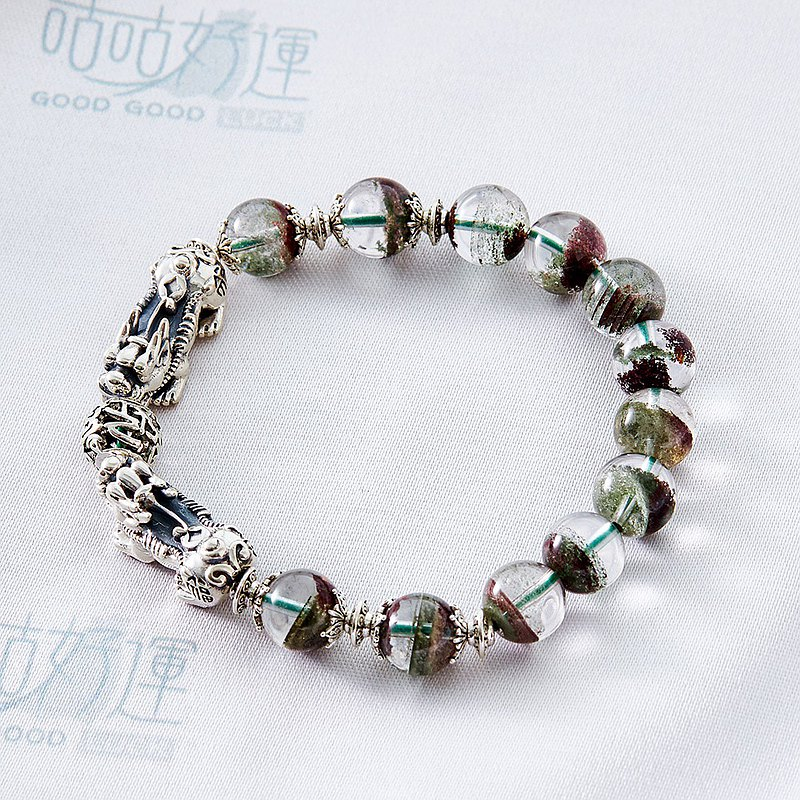 Wealth and Blessing Pixiu Red Green-Phantom Crystal Bracelet (Male Use)