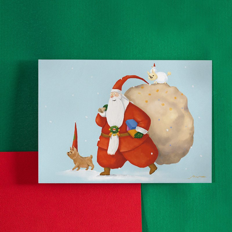 Dog good friend to help Santa / postcard
