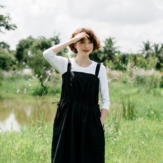 Linen Overalls Dress in Black