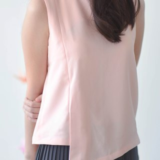 Pink Sleveeless Top with Triangular Hem