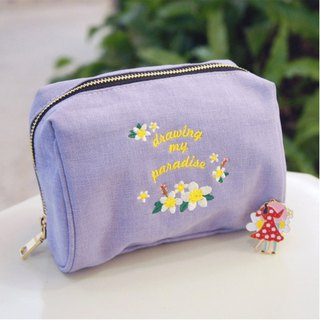 Draw My Paradise Multifunctional Makeup Bag - Purple