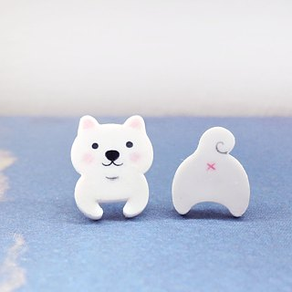White bubble young Mimi white Shiba Inu handmade earrings anti-allergic ear acupuncture painless ear clip