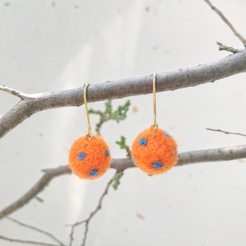 Handmade Felt Earrings with Cashmere (Clip-Ons Also Available)