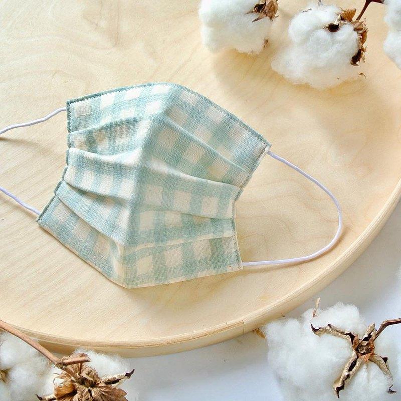 手工立體口罩 可洗滌 日本製純棉二重紗布 格子 淺藍色 成人