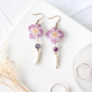 Flower Collection Handmade Earrings - Violet Freshwater Pearl Amethyst Can Change Clip