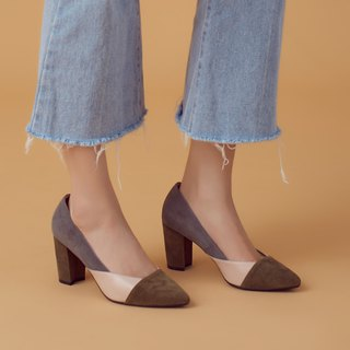 Low-heel elastic heel! Colorblock soft sheepskin heel shoes Kyoto green leather